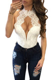 White Peek-a-Boo Sexy Lace Choker Neck Bodysuit