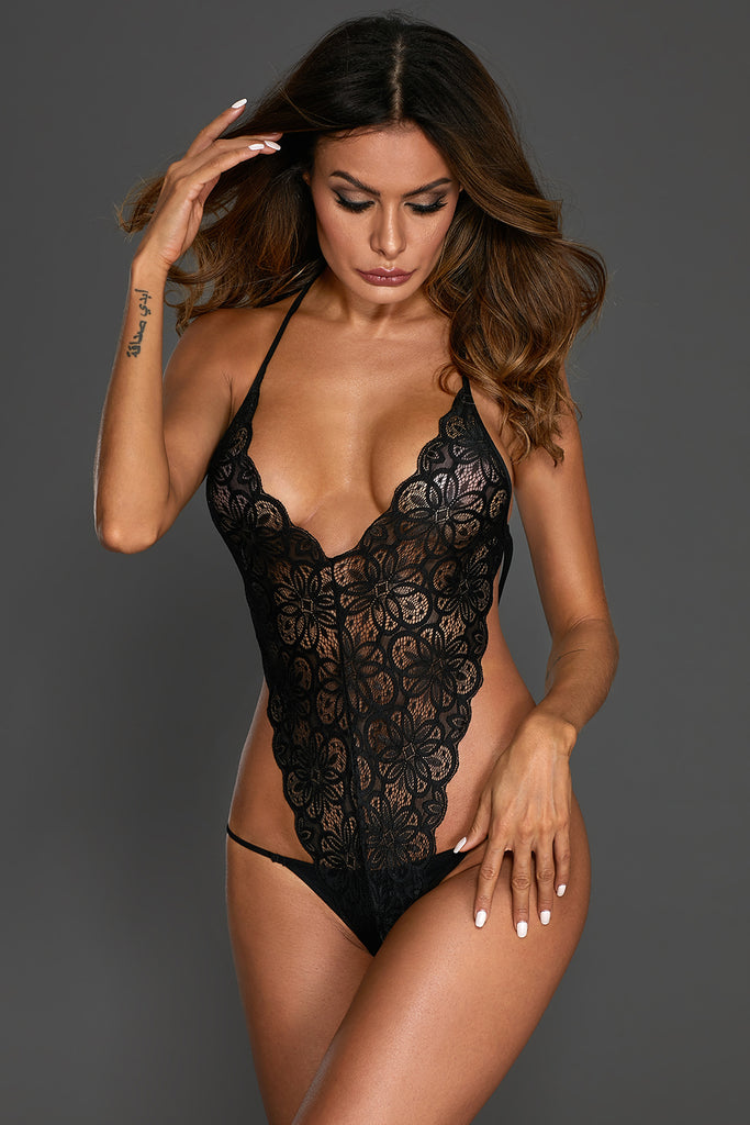 Black Floral Lace Teddy with Mesh Skirt