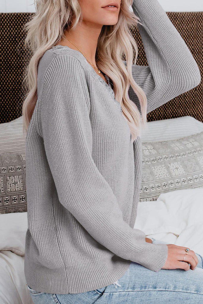 Gray Lace Collar V Neck Ribbed Sweater