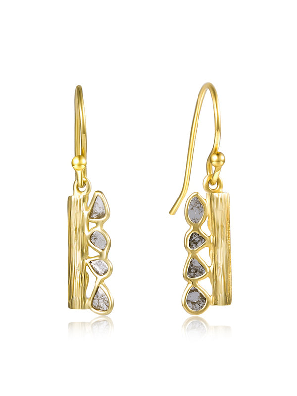 14k Gold Electroplated Diamond Earrings