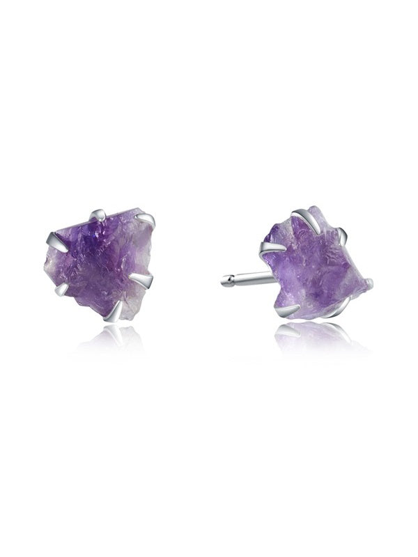 Natural Rough Quartz Ear Stud
