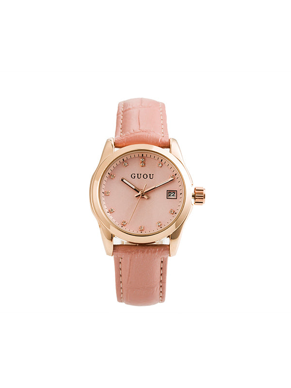Luminous Rhinestone Leather Women's Watch