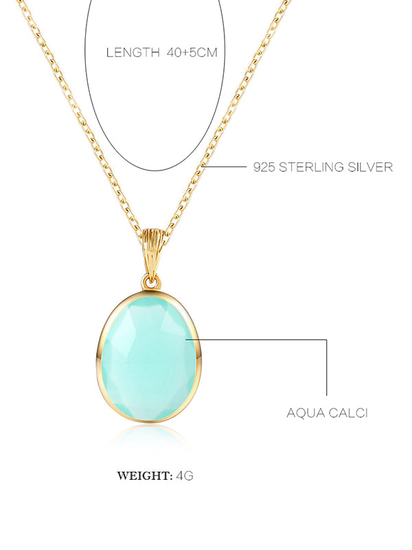 Natural Aqua Calci Necklace