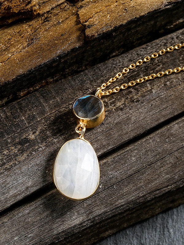 Natural Moonstone Sterling Silver Necklace
