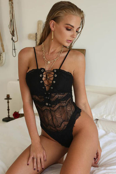 Black Lace-up Front Lace Bodysuit