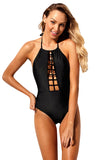 Black Caged Front Halter One Piece Swimsuit
