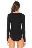 Asymmetric Snap Button Ribbed Knit Bodysuit