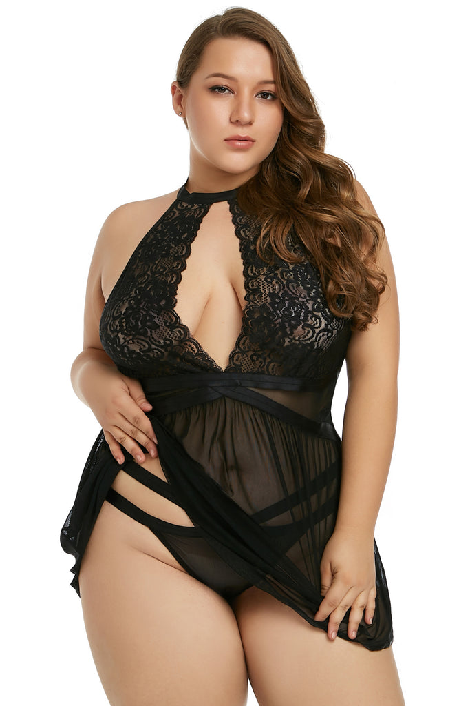 Black Plus Size Sheer Fantasy Babydoll Set