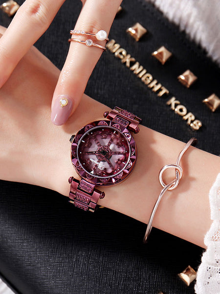 Flower Pattern Steel Belt Women's Watch