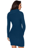 Asymmetric Buttoned Collar Bodycon Sweater Dress