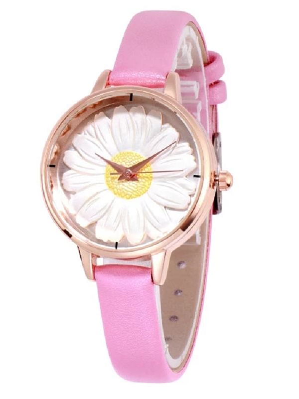 Women's Watch Flower Pattern Round dial leather strap elegant watch
