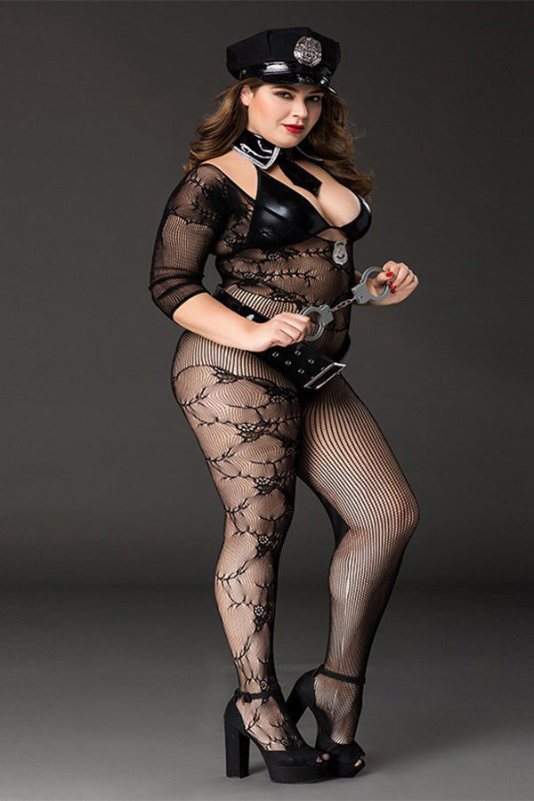 Plus Size Policewomen Cosplay Perspective Lingerie