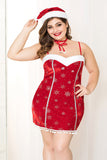 Red Velvet Fur Dresses Ms Santa Uniforms