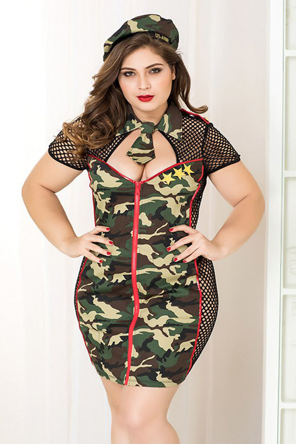 Adult Women Camouflage Hollowed Costumes