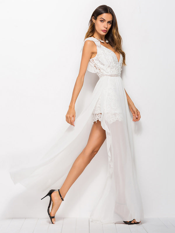 Hollow Lace Chiffon Dress