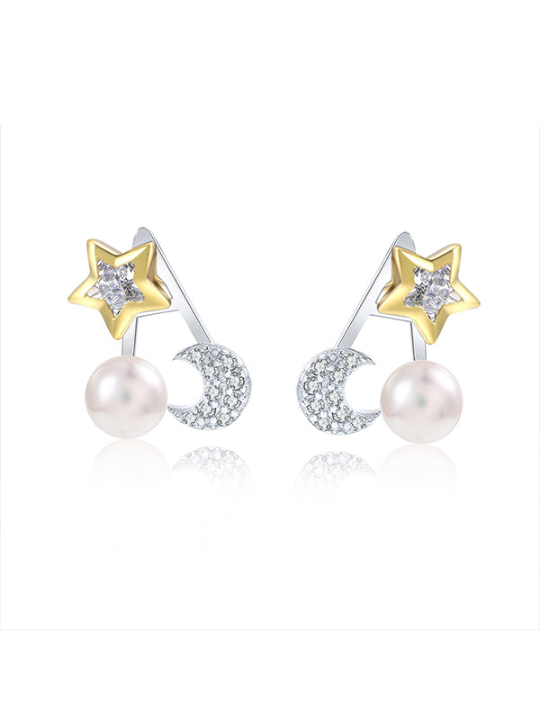 Star&Moon Pearl Earrings