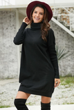 Ribbed Cowl Neck Lightweight Sweater Dress