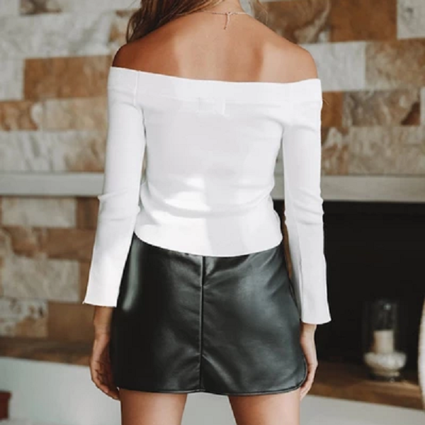 Off Shoulder Collar Sleeve Split T-shirt