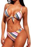 Candy Color Striped Push up Brazilian Bikini