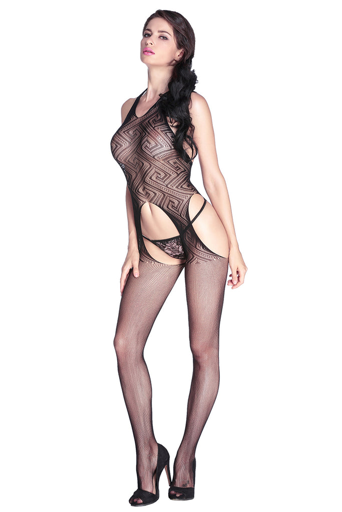 Seductive Halter Lace Crotchless Bodystocking