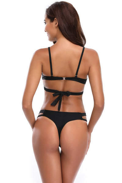 Black One Piece Cutout Bare Back Maillot