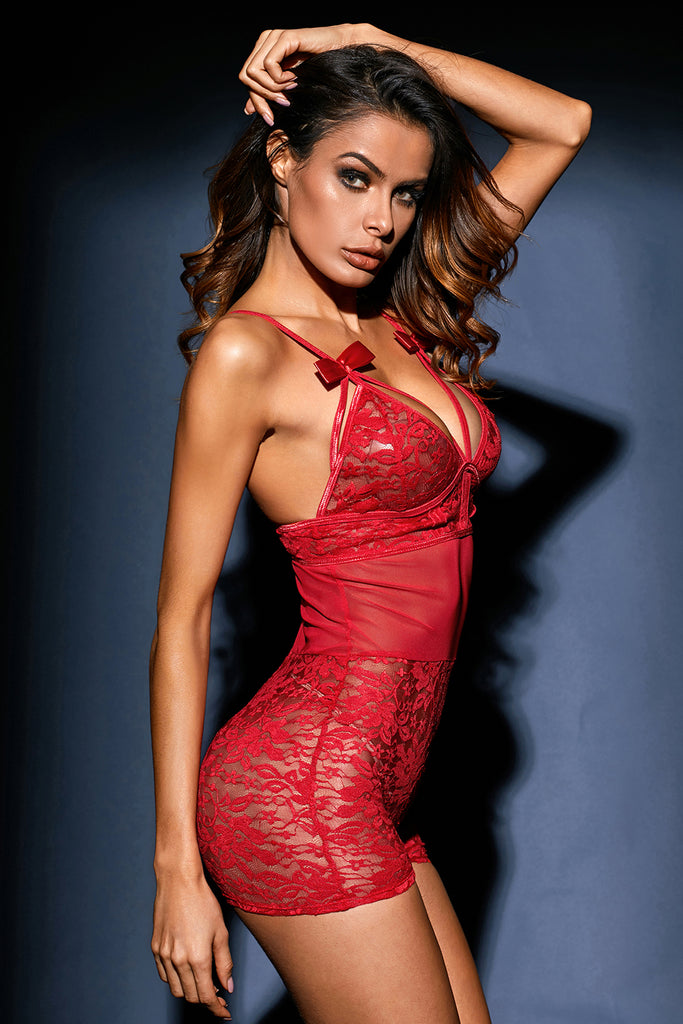 Ladies Red Lace Mesh Romper