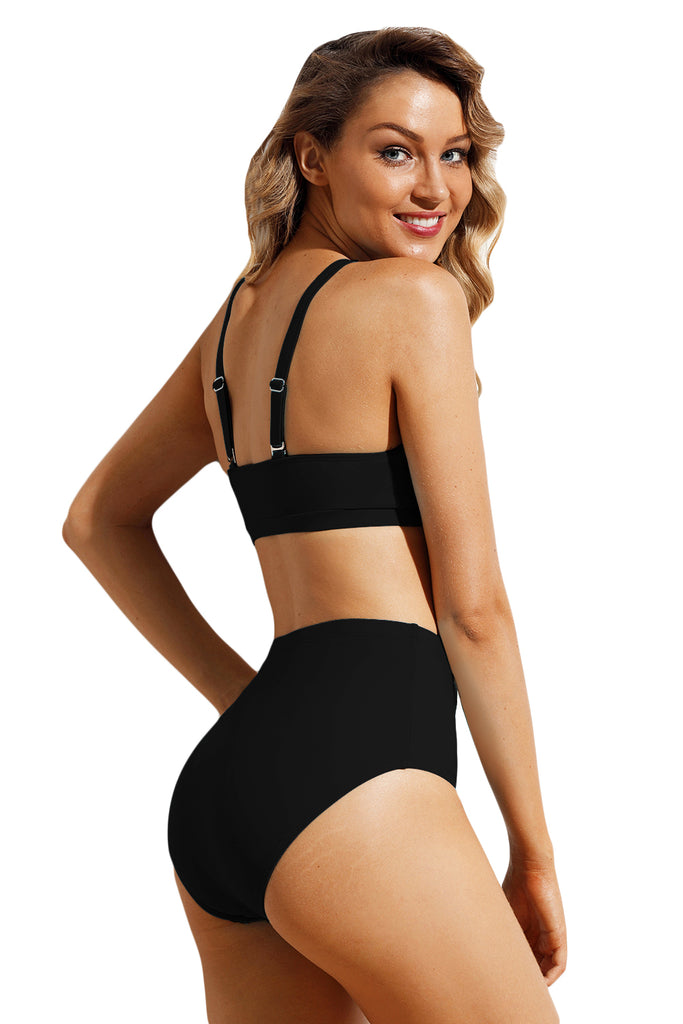 Solid Black Sport Bikini 2pcs High Waist Swimsuit