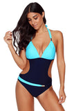 Blue Push-up Halter One-piece Swimwear