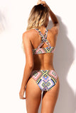 Trendy Print Two Piece Strappy Bikini Swimsuit
