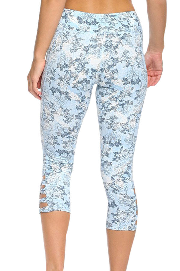 Light Blue Print Crisscross Detail Leggings
