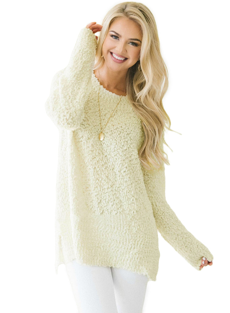 White Cozy Fall Popcorn Pullover Sweater