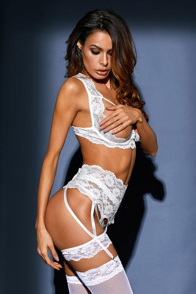 3pcs Seductive Open Cup Lace Bralette Set