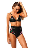 Black Embroidered Two Piece High Waisted Swimsuit