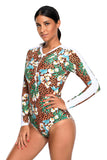 Floral Print Accent Leopard Long Sleeve One Piece Swimsuit