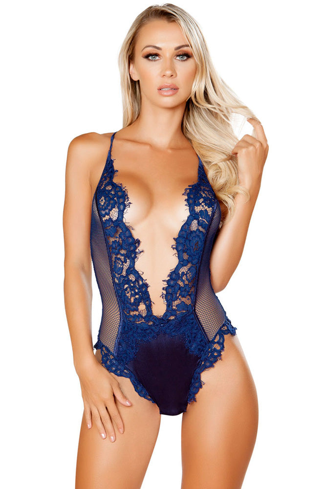 Navy V Shaped Eyelash Lace Satin Teddy