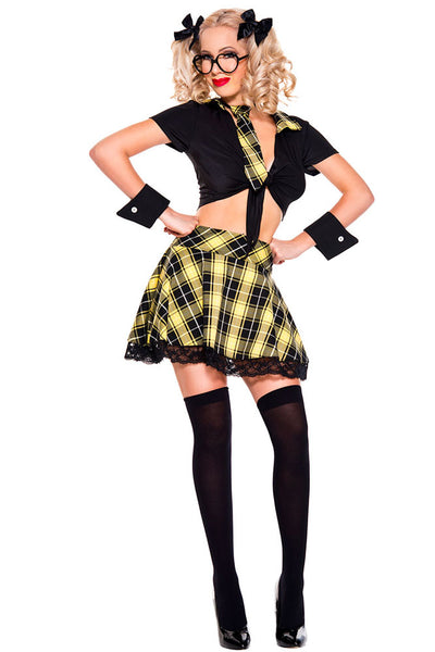 5 Pieces Yellow Plaid Detention Hottie Costume