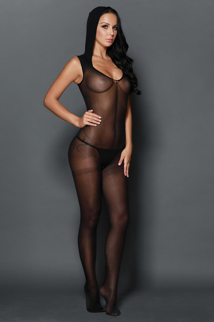 Black Mesh Footless Bodystocking with Hood