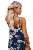 Blue Floral Print Button Down Tank Top