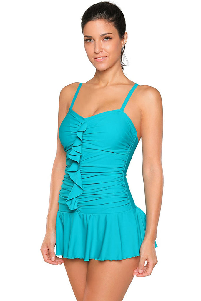 Blue Spaghetti Straps Frilled Skirted Swimsuit Maillot
