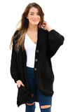 Black Chenille Buttoned Sweater Cardigan