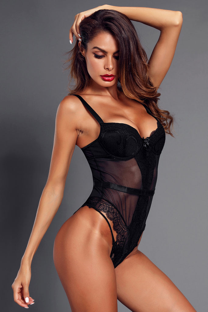 Black Sheer Lace Spaghetti Strap Bodysuit