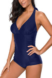 Blue Pleated Halter One Piece Swimwear