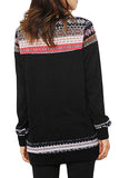 Black Geometric Detail Casual Sweater