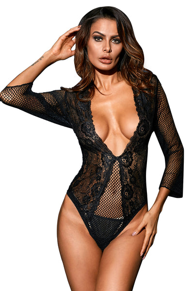 Ravishing Black Fishnet Teddy