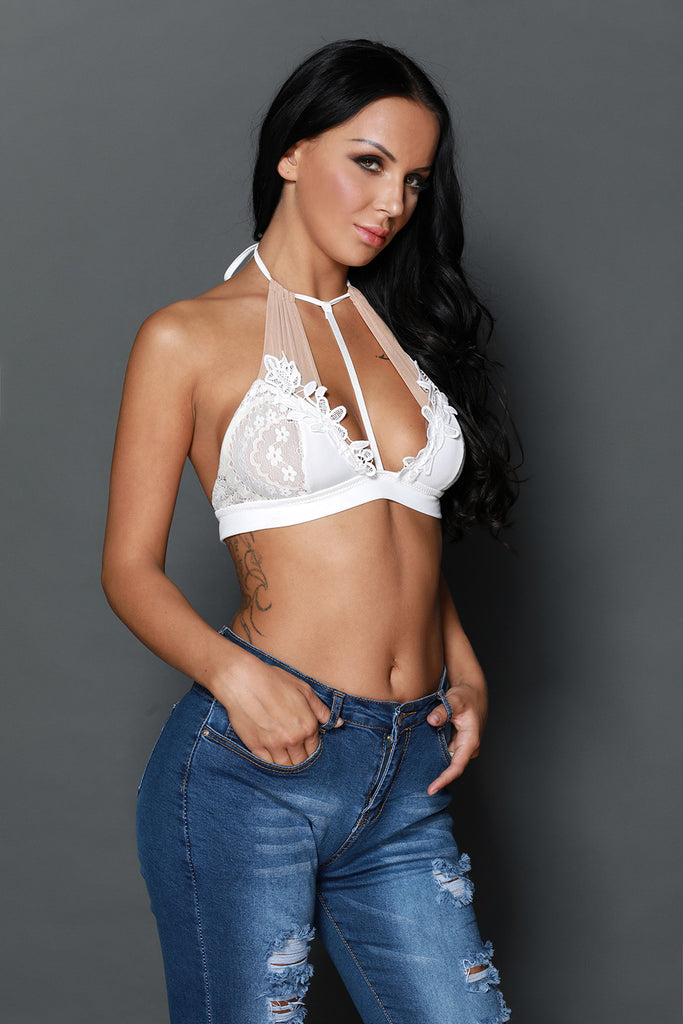White Embroidered Floral Halter Bralette Top