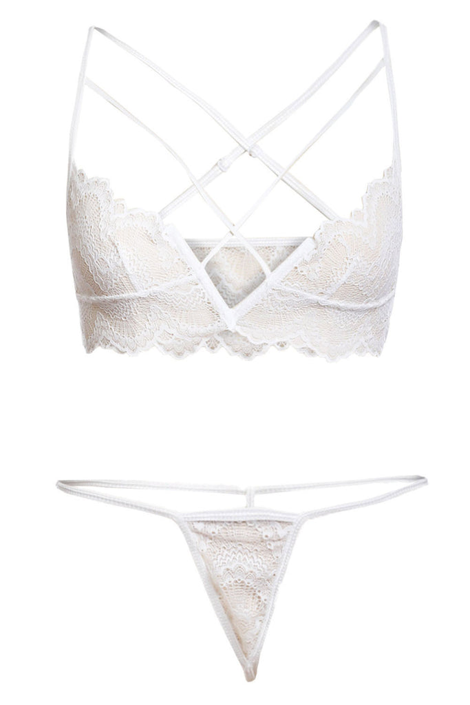 White Lace Bralette&Pantie Set