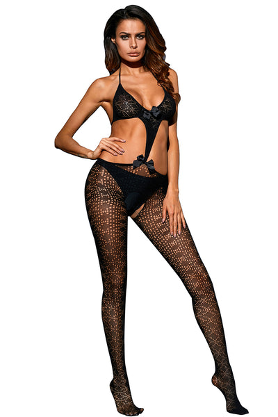 Halter Bowknot Applique Hollow-out Bodystocking