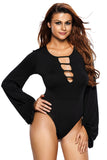 Black Puff Sleeve Sexy Bodysuit