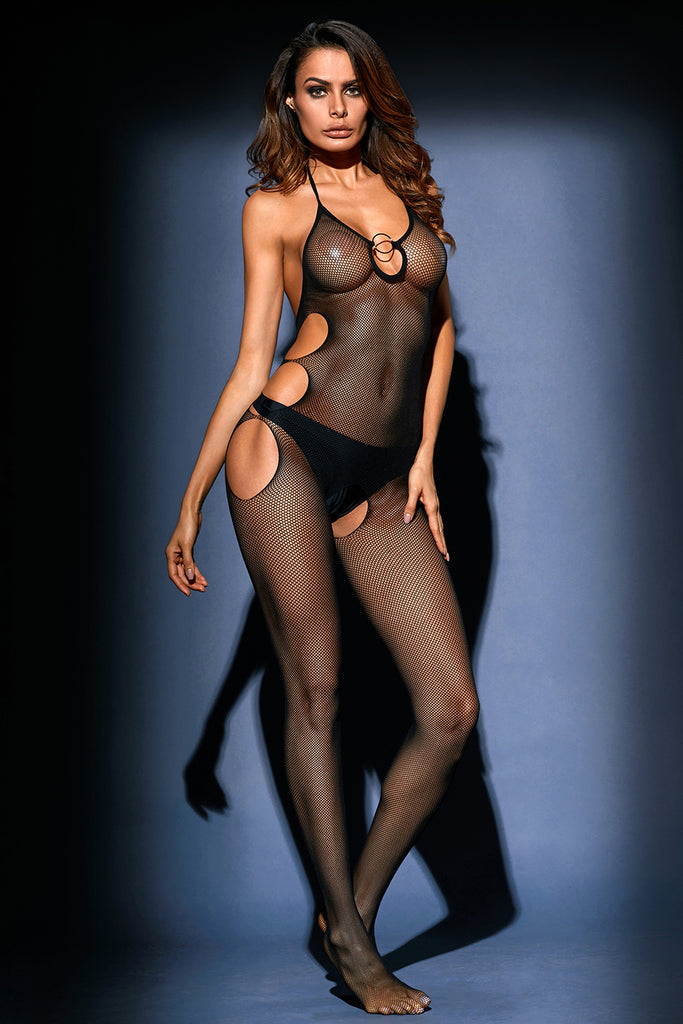 Halter Cut out Side Fishnet Bodystocking