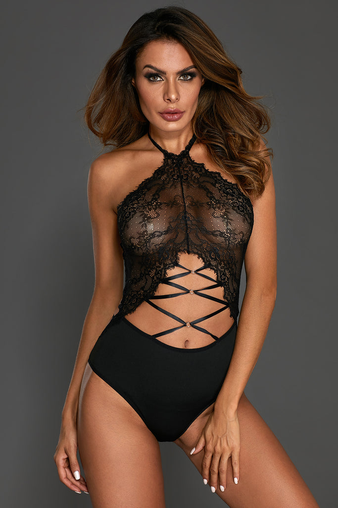 Black Lace Halter Strappy Cutout Teddy Lingerie